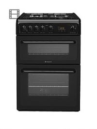 Hotpoint NewstyleHAG60K 60cm Double Oven Gas Cooker with FSD - Black