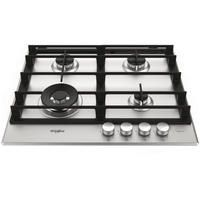Whirlpool GMW6422IXL W Collection 60cm Four Burner Gas Hob With Cast Iron Pan Stands - Stainless Steel
