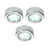 Wickes LED Round Under Cabinet Light - Chrome Pack of 3