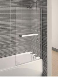 Aqualux Aqua 4 Square Bath / Shower Screen With Towel Rail - 137.5 X 75 Cm