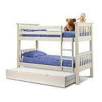 Debenhams Soft white 'Barcelona' bunk bed with underbed frame and 'Premier' mattresses