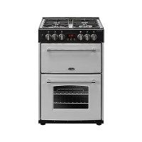 Belling Farmhouse 60DF 60cm Double Oven Dual Fuel Cooker With Cast Iron Pan Stands - Silver