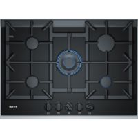 Neff T27TA69N0 75cm Five Zone Gas-on-glass Hob Black With Cast Iron Pan Stands