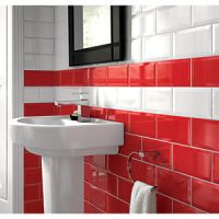Wickes Bevelled Edge Red Gloss Ceramic Wall Tile 200 x 100mm