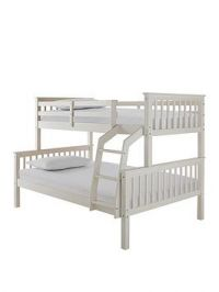 Novara Detachable Trio Bunk Bed In Pine, Grey Or White - Bed Frame With Standard And Standard 4Ft Mattresses