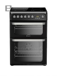 Hotpoint Ultima HUE61K60cm Double Oven Electric Cooker with Ceramic Hob - Black