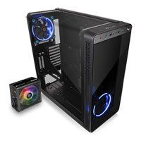 Thermaltake View 37 Gullwing Mid Tower Chassis w/ 2x 140mm Blue LED Fans with 500W Smart RGB 80+ Power Supply
