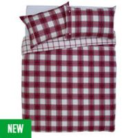Argos Home Cream and Red Brushed Check Bedding Set - Double