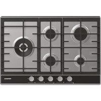 Hoover HHG7WLDVX Vogue 75cm Five Burner Gas Hob With Cast Iron Pan Stands - Stainless Steel & Black