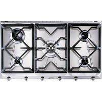 Smeg SRV596GH5 Cucina 5 Burner 90cm Wide Gas Hob With Cast Iron Pan Stands Stainless Steel