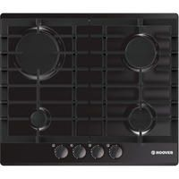 Hoover HGH64SCEB 59cm Four Burner Gas Hob With Enamel Pan Stands - Black