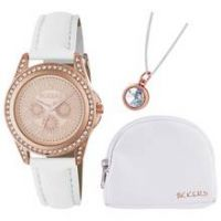 Tikkers White Strap Rose Dial Watch Set