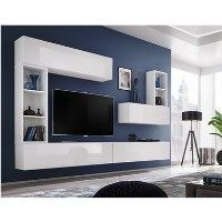 Floating White High Gloss TV Entertainment Unit - TVs up to 60