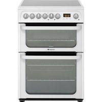 HOTPOINT HUE61PS 60cm Double Oven Electric Cooker With Ceramic Hob - White