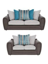 Calluna Faux Snakeskin And Fabric 3 Seater + 2 Seater Scatter Back Sofa Set (Buy And Save!)