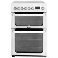 HOTPOINT HUE62PS 60cm Wide Double Oven Multifunction Electric Cooker With Ceramic Hob - White