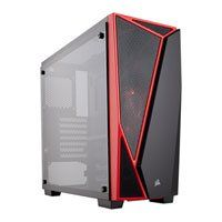 Corsair Carbide SPEC-04 TG, Black/Red, Mid Tower PC Chassis, w/ Tempered Glass Window, ATX/mATX/mITX, 120mm Red LED Fan