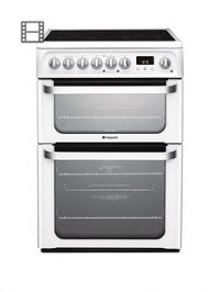 Hotpoint Ultima HUE61PS 60cm Double Oven Electric Cooker with Ceramic Hob - White