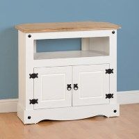 Seconique Corona Corner TV Unit in White and Waxed Pine