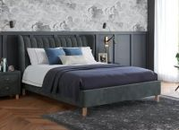 Knox Velvet Finish Upholstered Bed Frame