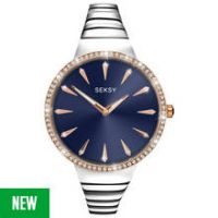 Seksy Ladies' Silver and Rose Gold Plated Stone Set Watch