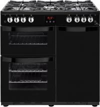 Newworld Vision 90G 90cm Gas Range Cooker with Electric Fan Oven - Black - B/A Rated