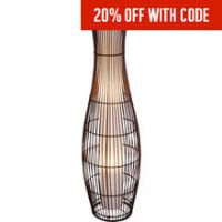 Argos Home Sirit Rattan Floor Lamp - Dark Brown