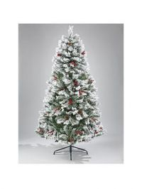 7Ft Bavarian Pine Flocked Christmas Tree With Cones And Berries
