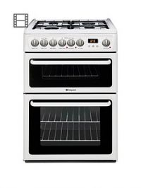 Hotpoint Newstyle HAG60P 60cm Double Oven Gas Cooker with FSD- White