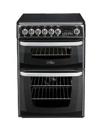 Cannon By Hotpoint CH60EKKS 60cm Double Oven Electric Cooker with Ceramic Hob - Black