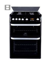 Hotpoint Ultima HUG61K 60cm Double Oven Gas Cooker with FSD- Black