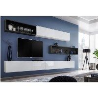 Large Floating White High Gloss TV Unit with Shelf - TV's up to 73