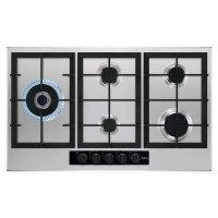 AEG HGB95520YM 86cm Five Burner Gas Hob With Cast Iron Pan Stands - Stainless steel