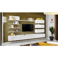 White High Gloss Entertainment Unit with Shelves for TVs up to 80