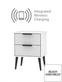 Copenhagen Ready Assembled 2 Drawer Bedside Table with Integrated Wireless Charging