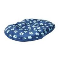 Paw Print Fleece Oval Navy Cushion - Extra Large