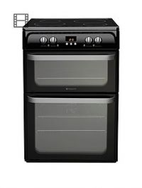 Hotpoint Ultima HUI614K 60cm Double Oven Electric Cooker with Induction Hob - Black