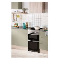Hotpoint HD5V93CCSS 50cm Electric Cooker in Silver Double Oven Ceramic