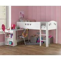 Collection Mia Mid Sleeper with Desk & Mattress - White