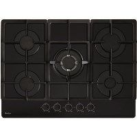 Amica AGVH7300BL 70cm Wide Five Burner Gas Hob With Cast Iron Pan Stands - Black