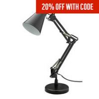 HOME Swing Arm Desk Lamp - Matt Black