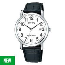 Lorus Men's Black Crocodile Effect Leather Strap Watch Best Price, Cheapest Prices