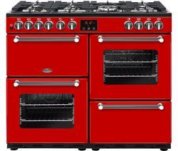 BELLING Kensington 100DFT Dual Fuel Range Cooker - Red & Chrome Best Price, Cheapest Prices