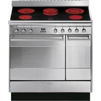 Smeg Concert SUK92CMX9 90cm Dual Cavity Ceramic Range Cooker in Stainless Steel Best Price, Cheapest Prices