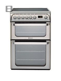 Hotpoint Ultima HUE61XS 60cm Double Oven Electric Cooker with Ceramic Hob - Stainless Steel Best Price, Cheapest Prices