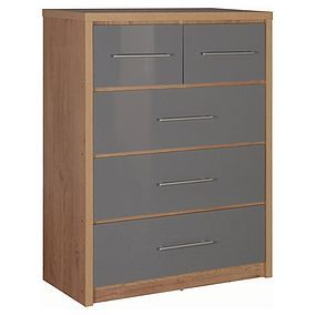 Seville Grey 5 Drawer Chest Best Price, Cheapest Prices