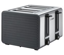 BOSCH Silicone TAT7S45GB 4-Slice Toaster - Black and Grey Best Price, Cheapest Prices