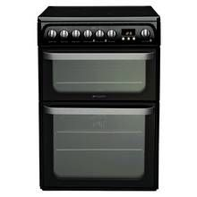 Hotpoint HUE61KS 60cm Twin Cavity Electric Cooker - Black Best Price, Cheapest Prices