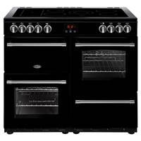 Belling Farmhouse 100E 100cm Electric Range Cooker in Black 444444136 Best Price, Cheapest Prices