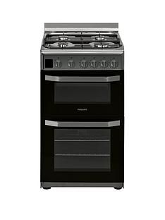 Hotpoint HD5G00CCX 50cmWide Gas Double Oven Cooker - Stainless Steel Best Price, Cheapest Prices